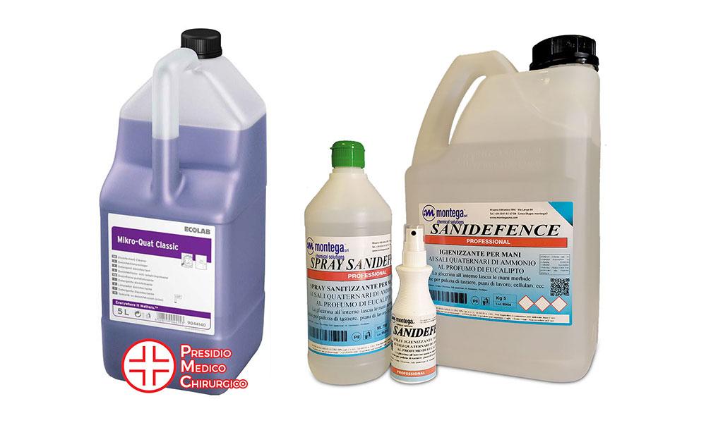 Detergenti e sanificanti per piani di lavoro