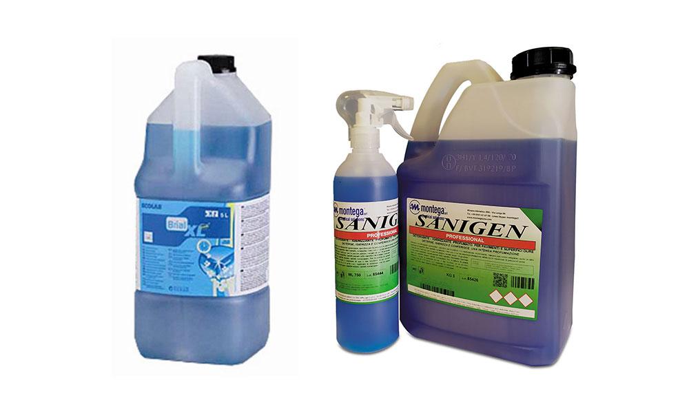Detergenti e sanificanti per ambienti e pavimenti